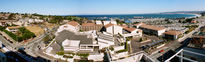 Monterey Bay 1985 Looking down on the Monterey Conference Center and the Double Tree Hotel by Pat Hathaway ©1985 Accession # 2003-001-0001