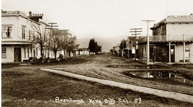 View Looking Down Broadway King City Cal From The Railroad Station Exchange Hotel On Left And Camino Real
