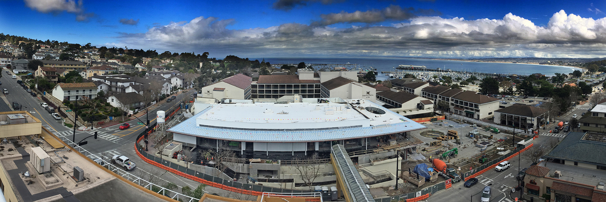 Monterey Bay March 2017 Looking down on the Monterey Conference Center and the Double Tree Hotel by Pat Hathaway ©2017 Accession # 2017-002-0003