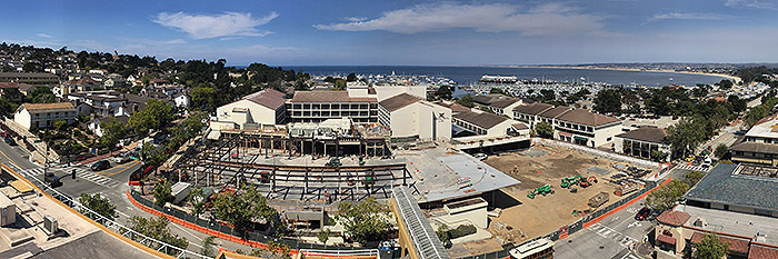Monterey Bay August 2016 Looking down on the Monterey Conference Center and the Double Tree Hotel by Pat Hathaway ©2016 Accession # 2016-001-0003