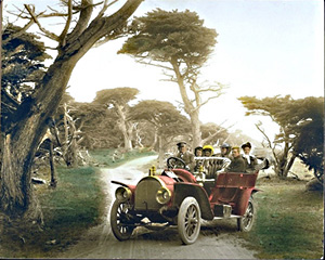 Touring car on 17 Mile Drive, hand colored by Mr. Pat Hathaway  Copyright©1996 California Views